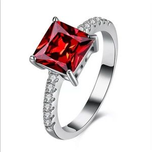 New Square Cut Cubic Zirconia Prong Setting Ring